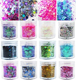 12 Bottles Chunky Resin Glitter Flakes Iridescent White Pink Purple Holographic Gold Silver Sparkle Glitter Sequins Crafts...