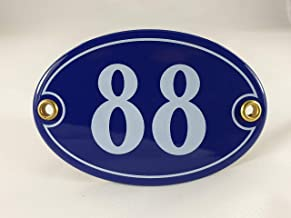 Emaille huisnummerbordje nr. 88, ovaal, blauw-wit Nr. 88 Blau-Weiß