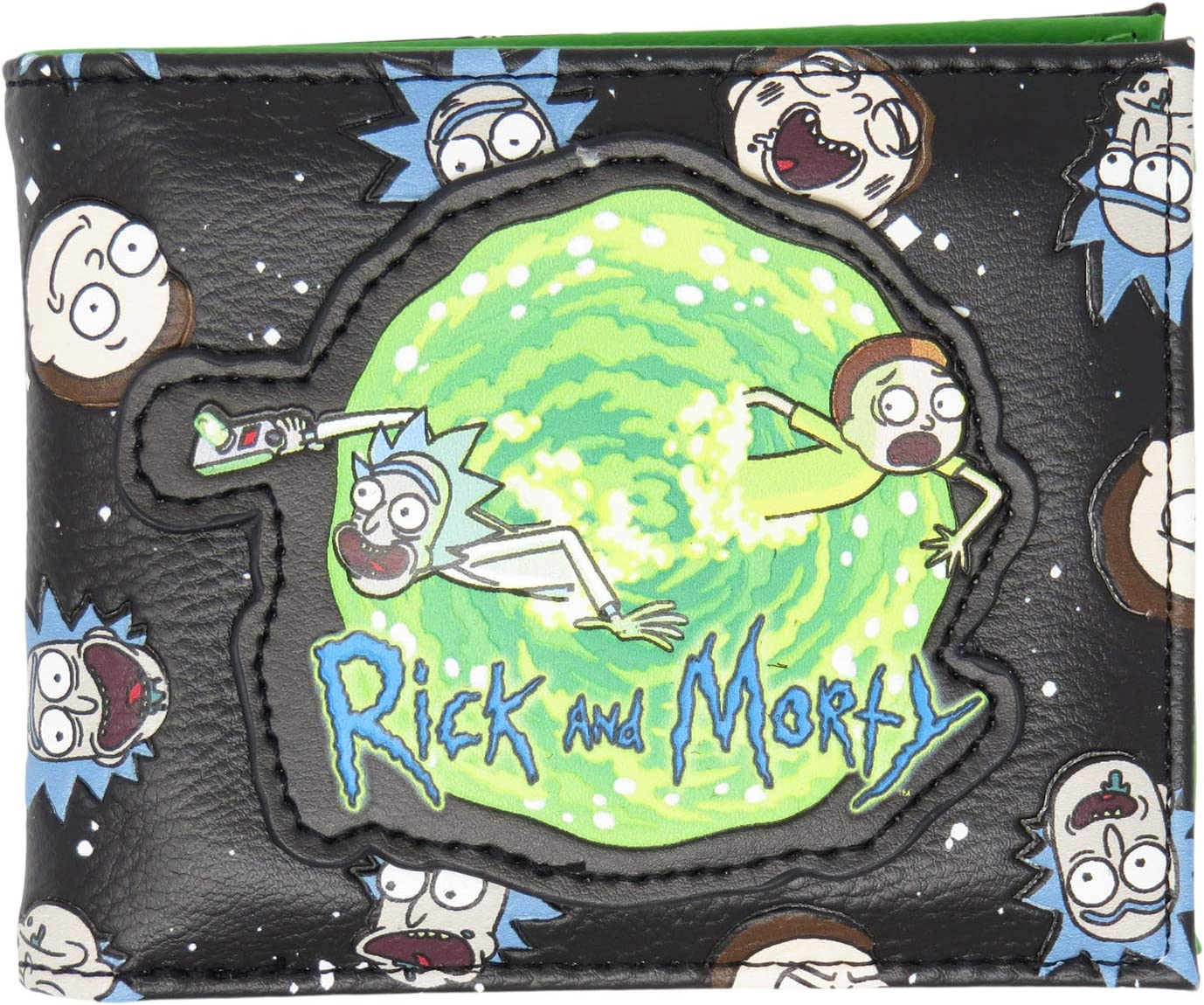 Rick and Popular overseas Morty Portal Faces safety PU Adult Wallet Bifold Faux Leather
