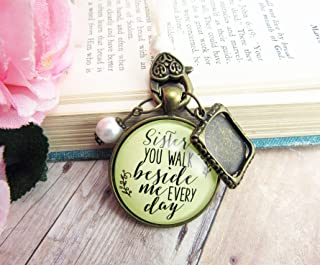 Bridal Bouquet Photo Charm Sister You Walk Beside Me Every Day Wedding Pendant Memorial Remembrance Photo Jewelry