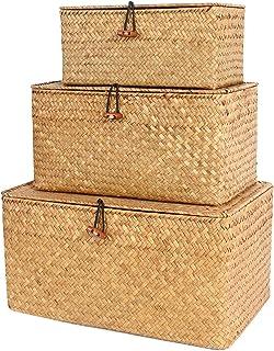 FEILANDUO 3 sztuki pudełko do przechowywania z pokrywką, glony tkany, kosmetyczny kosz do przechowywania na biurko, do sal...