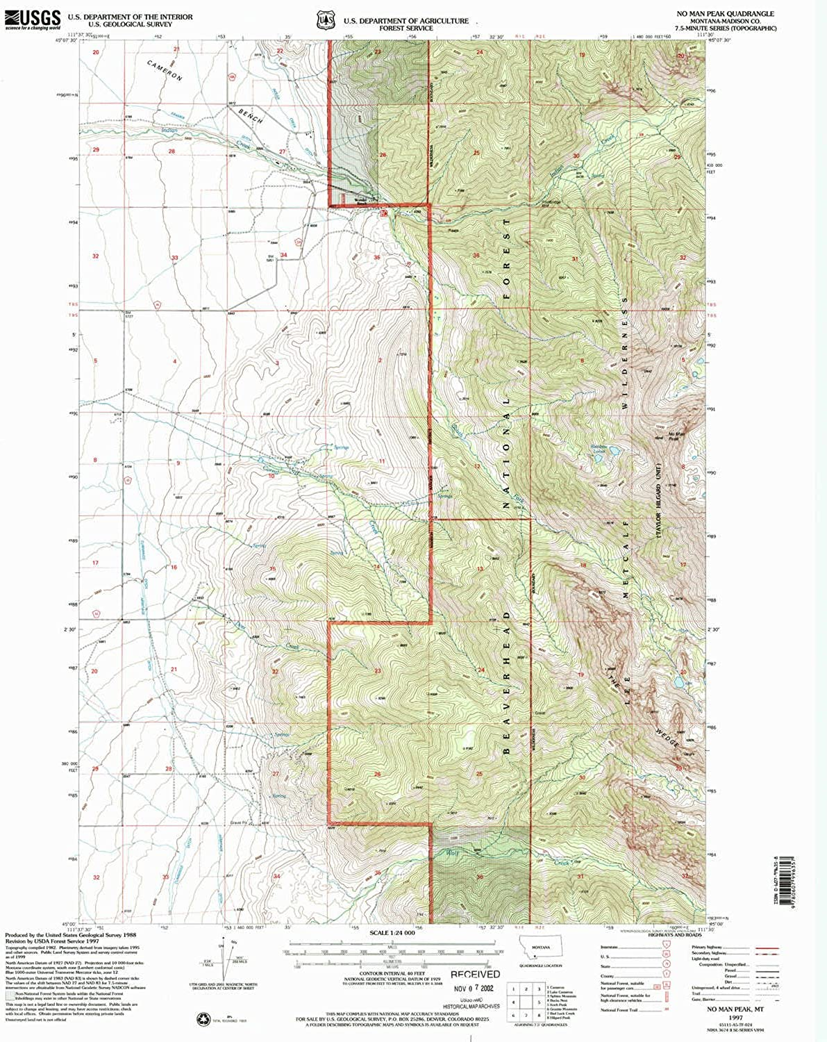 No Man Peak MT topo map, 1 24000 Scale, 7.5 X 7.5 Minute, Historical, 1997, Updated 2002, 26.9 x 21.9 in