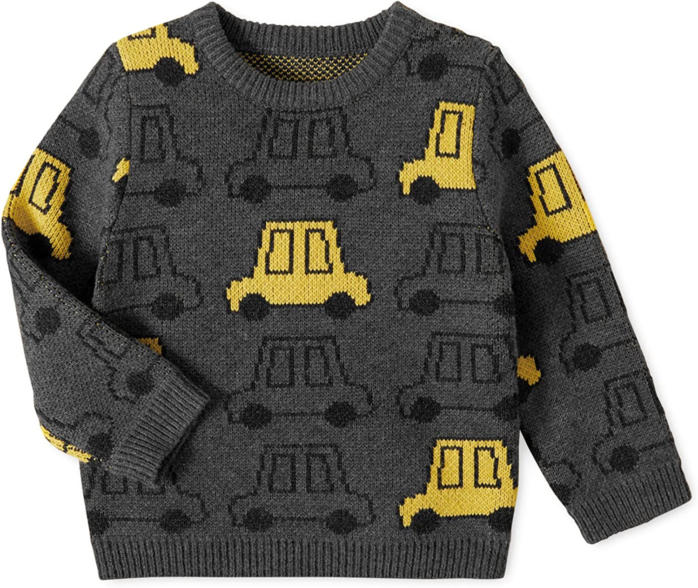 PatPat Toddler Boy Cartoon Print Round-Neck Pullover Little Kids Long-Sleeves Sweater
