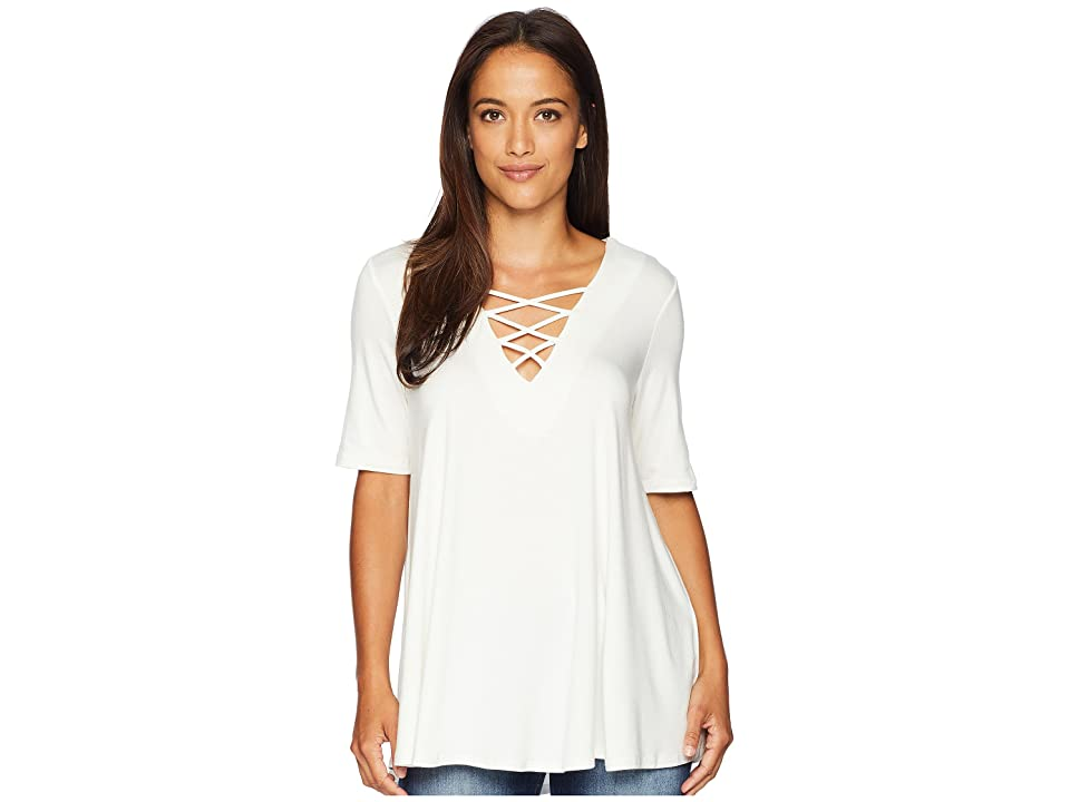 Karen Kane Lace-Up Swing Top (Cream) Women