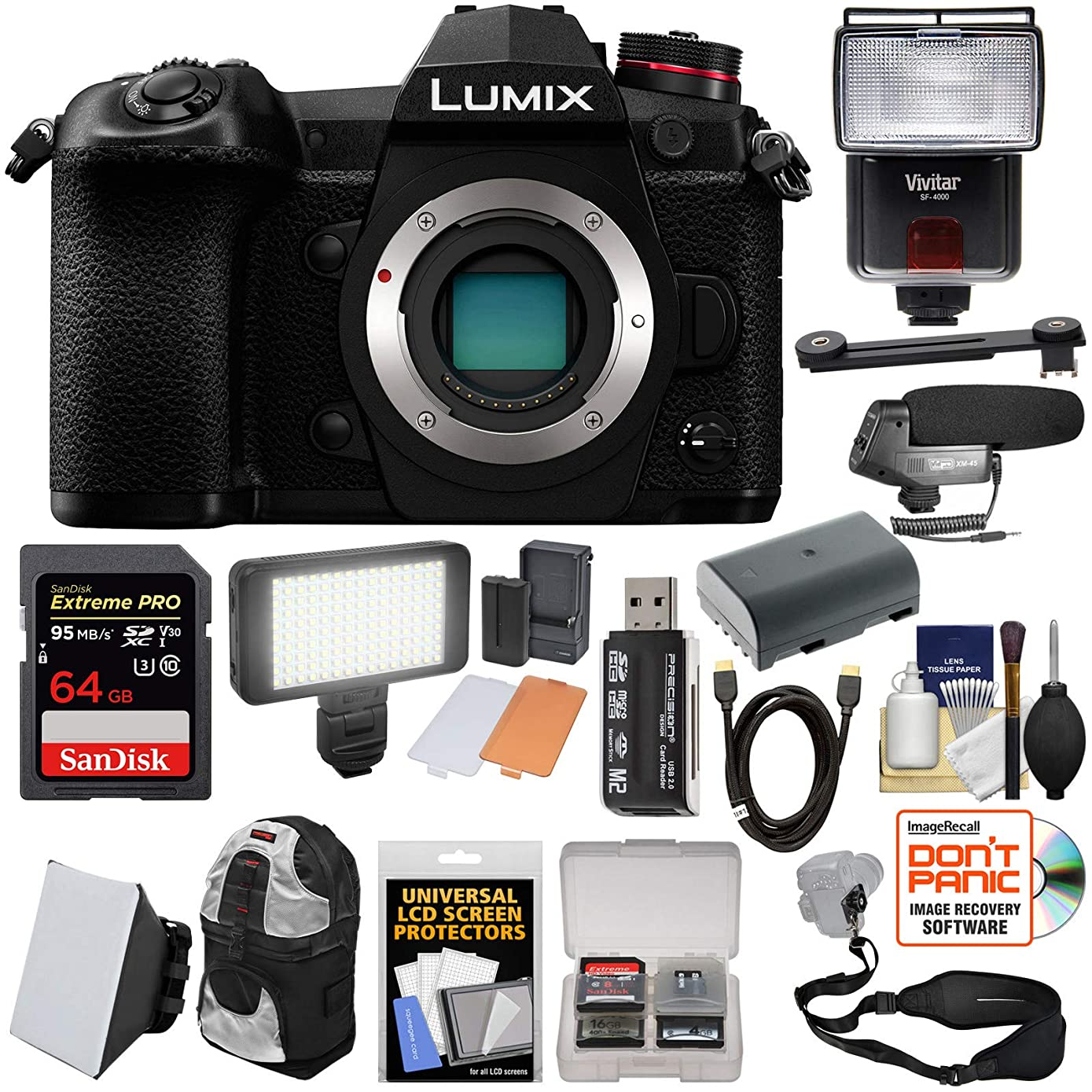 Panasonic Lumix DC-G9 4K Wi-Fi Digital Camera Body with 64GB Card + Battery + Backpack + Flash + Soft Box + Video Light + Mic Kit
