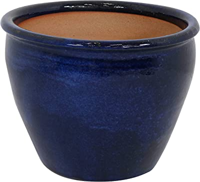 Sunnydaze Chalet Ceramic Flower Pot Planter with Drainage Holes - 15-Inch - High-Fired Glazed UV and Frost-Resistant Finish - Outdoor/Indoor Use - Imperial Blue