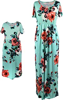 Mother Daughter Short Sleeve Family Matching Floral Maxi Dress Sets