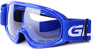 GLX GX08 youth & kids Motocross/ATV/Dirt Bike/Airsoft Safety Goggles, ANSI Z87.1 Certified (Blue) - Anti-Fog, UV Protection, Shatter-Proof