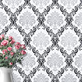 Wallpaper White Damascus Contact Paper Flower Sliver Wallpaper Black Peel and Stick Wallpaper Removable Wall Paper Wall Covering Self Adhesive Wallpaper Shelf Drawer Liner Vinyl Decal Roll17.7''x78.7'