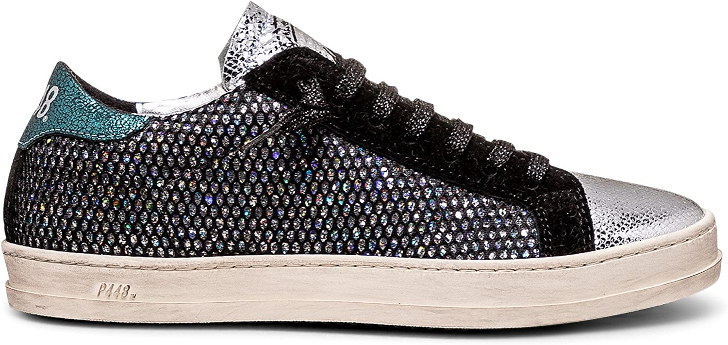 P448 Women's John Italian Leather Silver Glass Sneaker