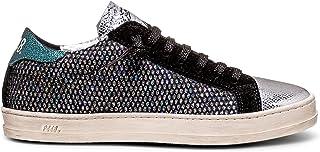 P448 Women's John Italian Leather Silver/Glass Sneaker