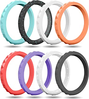 FluxActive Silicone Wedding Ring for Women (8 Pack) Stackable Thin Rubber Bands - Diamond Pattern Rings