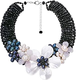 AeraVida Midnight Garden Cultured Freshwater Pearl and Crystal Beads Floral Statement Necklace
