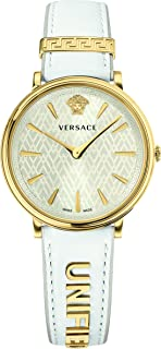Women's Manifesto Edition Swiss-Quartz Watch with Leather Calfskin Strap, White, 11 (Model: VBP100017)