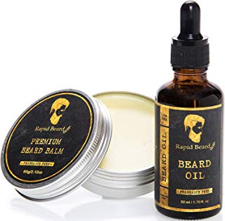 Beard Oil and Beard Balm Kit for Men Care - Unscented Leave in Beard Conditioner, Heavy Duty Beard Butter, Mustache Wax Softener Gift set - for Beard and Mustache Styling, Shaping, Grooming & Growth