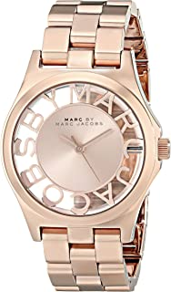 Marc By Marc Jacobs Henry Skeleton Women's Rose Gold Dial Rose Gold-Plated Stainless Steel Band Watch - Mbm3293, Analog Di...
