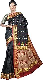 Misal Sarees Women's Katan Silk Handloom Bengal Origin Baluchari Saree with Blouse Piece (MS1661, Black, Maroon)