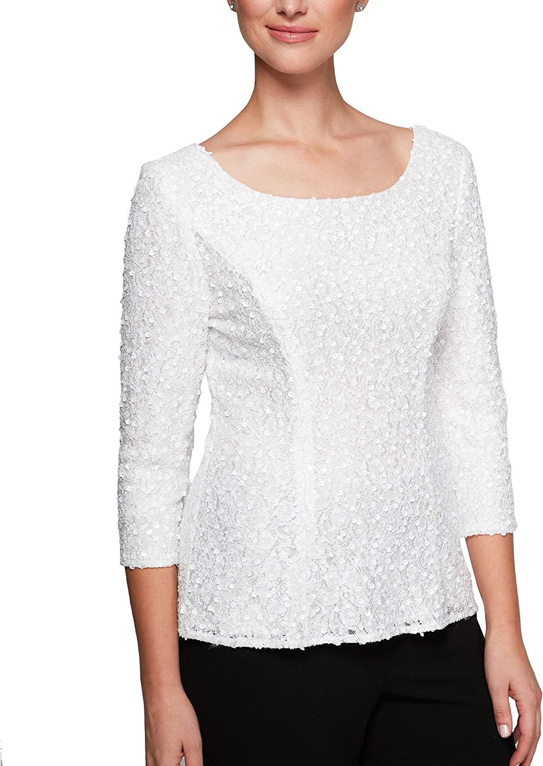 Alex Evenings Women's Lace Scoop Neck Blouse with Sequin Detail