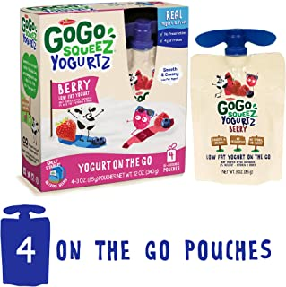 GoGo squeeZ YogurtZ, Berry, 3 Ounce (4 Count), Low Fat Yogurt, Gluten Free, Healthy Snacks, Recloseable, BPA Free Pouches