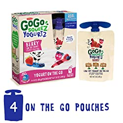 GoGo squeeZ YogurtZ, Berry, 3 Ounce (4 Pouches), Low Fat Yogurt, Gluten Free, Healthy Snacks, Reclos