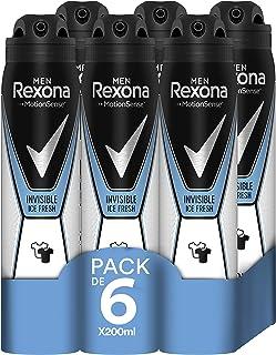 comprar comparacion Rexona Invisible Ice Fresh Antitranspirante Aerosol para Hombre, Protección 48 horas 200 ml, Paquete de 6