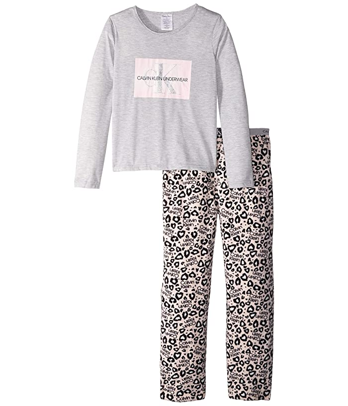 Piece Set Long Sleeve Top w/ Cozy Pants (Little Kids/Big Kids) (Heather Gray/CK Pink Leo) Girl's Pajama Sets