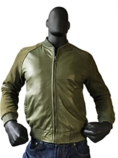 Jakewood Real Leather Bomber Spring Jacket Suede Sleeves Coat Regular and Big & Tall Sizes