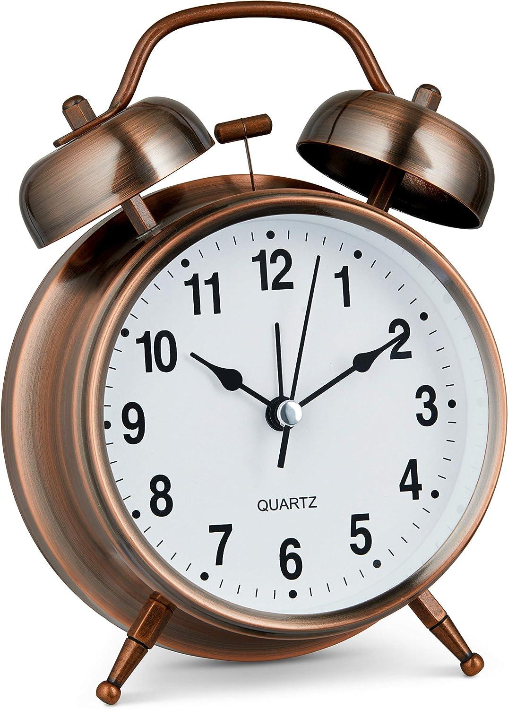Bernhard Products Analog Alarm Clock Twin Bell Retro Copper Metal 4