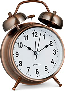 """Bernhard Products Analog Alarm Clock Twin Bell Retro Copper Metal 4"""" Extra Loud Quartz Battery Operated with Backlight for..."""