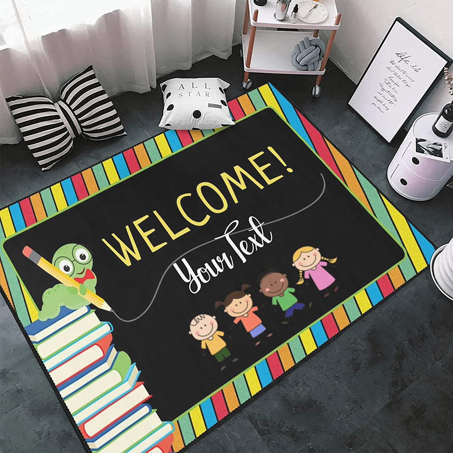 Personalized Area Rugs 55% OFF with Name Cute Colorful Custom Cheap mail order sales Bookworm S