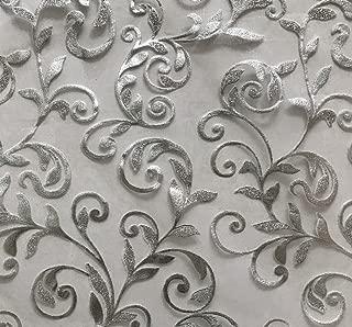 CurtainCityNewYork NY Metallic Floral Organza Sheer 6 Yards Scarf Valance (Silver, 216L X 50W)
