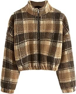 Women's Stand Collar Half Zip Drawstring Hem Crop Pullover Teddy Warm Sweatshirts Outwear