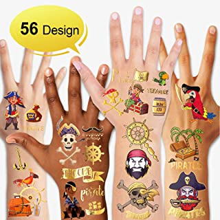 Konsait 56 Sheets Glitter Pirate Temporary Tattoos for Kids, Pirate Tattoos Girls Boys Pirate Party Supplies Favors Decorations, Pirate Birthday Party Bag Filler, Halloween Costume Accessories