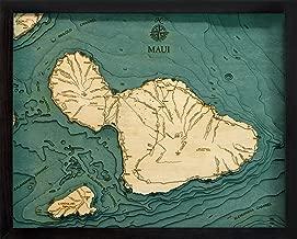 Maui, Hawaii 3-D Nautical Wood Chart, 16