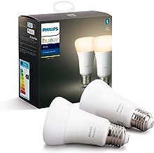 Philips Hue Standaard Lamp 2-Pack - E27 - Duurzame LED Verlichting - Warmwit Licht - Dimbaar - Verbind met Bluetooth of Hu...