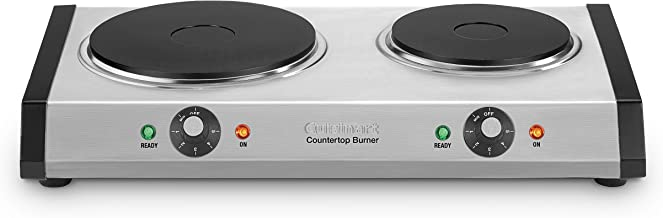 "Cuisinart Cast-Iron Double Burner, 11.5""(L) x 19.5""(W) x 2.5""(H), Silver"