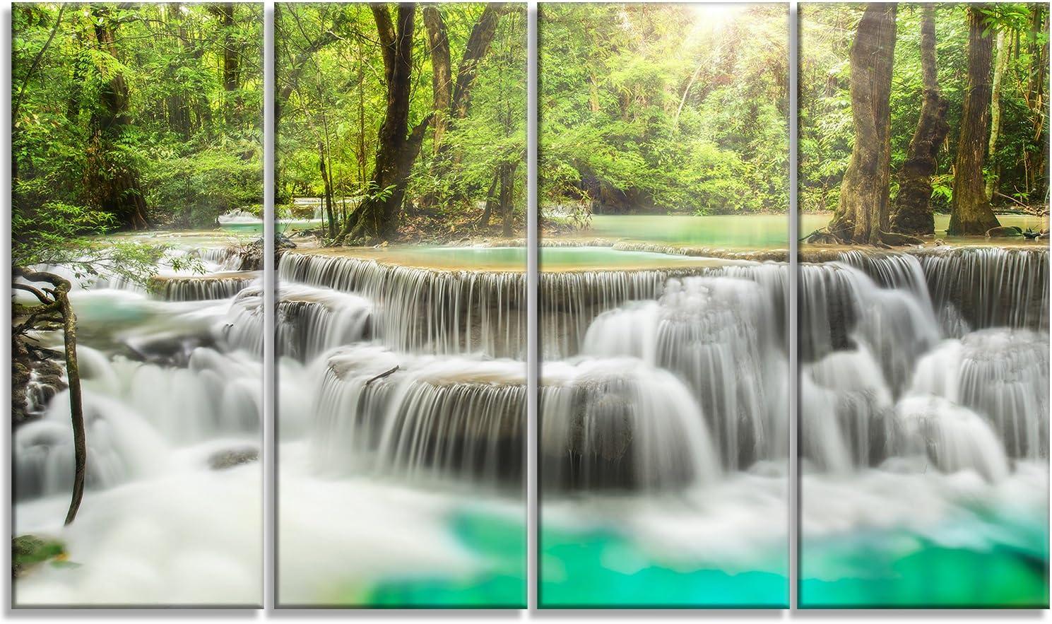 Amazon Com Designart Kanchanaburi Erawan Waterfall Photo Canvas Print 40x20 40x20 Posters Prints