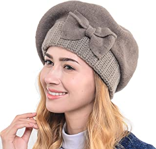 Women's French Beret - 100% Wool Cloche Hat - Beret Beanie for Winter C020 (Hy022-Brown)