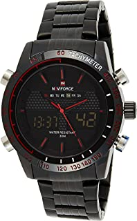 Naviforce Men's Black Dial Stainless Steel Analogue Classic Watch - NF9024-BBR