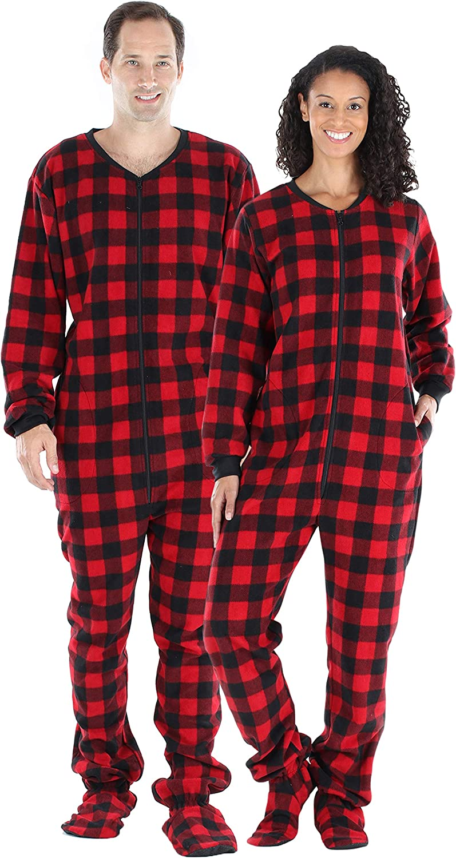SleepytimePjs Adult Fleece Solid Color and Buffalo Plaid Footed Onesie Pajama