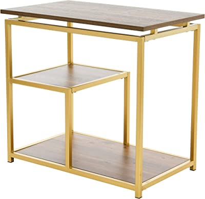 Creative Co-Op Multi-Tiered Side End Table, Black and Gold