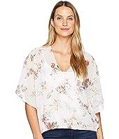 3/4 Sleeve Print Draped Shirt