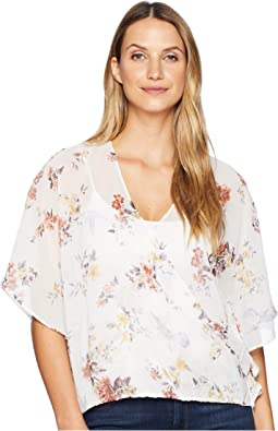 3/4 Sleeve Print Draped Shirt