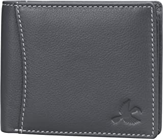 Hornbull Men's Themes Geuine Leather RFID Wallet (Grey)