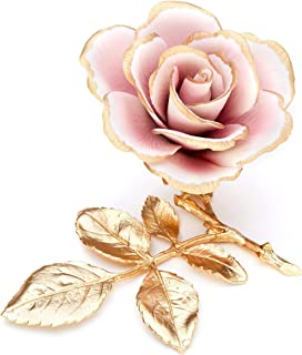 Rosa In Porcellana Su Rametto In Peltro Dorato Prodotto In Italia Da Unionporcelain Con Marchio Napoleon
