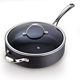 Cooks Standard 5 Quart/11-Inch Hard Anodized Nonstick Deep Saute Pan with Lid, Black