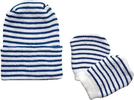 b170bc474c7 Newborn Baby Navy   White Striped Hospital Hat and Mitten Set by Nurses  Choice