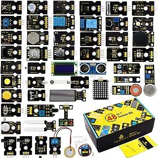 KEYESTUDIO 48 in 1 Sensor Kit for Arduino R3, MEGA, Nano, Raspberry Pi, STEM Project Kit V2.0