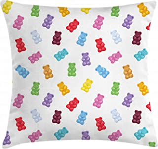 Ambesonne Dessert Throw Pillow Cushion Cover, Vibrant Colored Gummy Bears Candies Delicious Jelly Sugary Snack Chewy Taste, Decorative Square Accent Pillow Case, 18