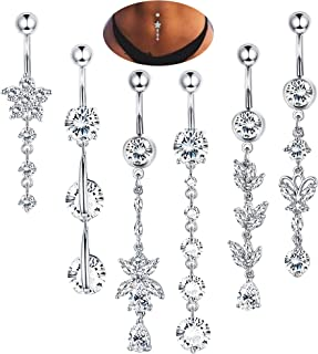 Thunaraz 14G Stainless Steel Belly Button Rings Navel CZ Inlaid Body Jewelry Piercing Barbell